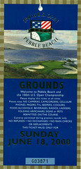 June 18, 2000, 100th US Open Golf Tournament, Pebble Beach, California - Ticket Stub (Joe Merchant) Tags: california beach june golf us 2000 open ticket pebble tournament 100th 18 stub