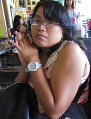 hot cutie at starbucks in greenhil (mikeeliza) Tags: pink red woman brown black hot girl beautiful hair asian glasses pretty arms skin cut bare low young lips blouse full starbucks manila filipina brunette facial greenhills mikeeliza