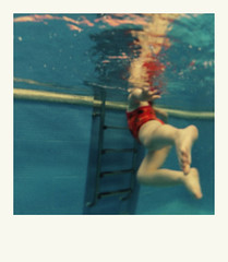 (posidonia...) Tags: blue summer portrait water pool girl polaroid bubbles theimpossibleproject