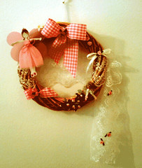 Pink Fairy Wreath (DekaTessera) Tags: wreaths fabricroses silkbow cottonribbon delicatelace chestvines paperpinkfairy