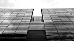 City On The Edge Of Forever - London City (On Explore 4th Jul 2013) (Simon & His Camera) Tags: city light sky urban blackandwhite bw reflection building london glass monochrome lines vertical skyline architecture composition contrast skyscraper dark lookingup explore shade 52weeks simonandhiscamera