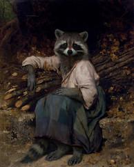 La Raccoon du Bucheron (suedetess) Tags: wood girl animal photomanipulation painting sitting jean leon oil ren raccoon fille worth1000 renaissance woodpile perrault bucheron bazille suedetess