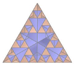 Sierpinski gasket (DJorigami) Tags: blue orange art japan digital paper triangle origami kei cp svg gasket archicad inkscape ousa sierpinski colorchange oripa opx morisue ousa2013