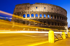 Roman Colosseum at Night (Bianconero Photo LRPS) Tags: street light italy streets rome colour roma night photography italia traffic trails colosseum streaks colosseo