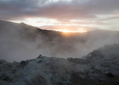 Gleam (antgirl) Tags: sunset orange brown white black hot yellow vent iceland steam nmafjall fumaroles