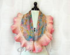 Womens Light Floral Scarf (Orli Felt) Tags: felted scarf felting silk felt cape nunofelting feltedscarf orlifelt