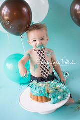 Happy First Birthday Nicholas (njmommyof3boys) Tags: birthday blue boy baby brown green cake balloons one toddler aqua child chocolate mint tie firstbirthday oneyearold cakesmash