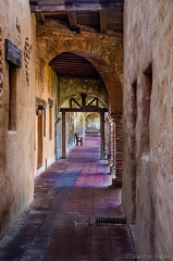 The Corridor (www.karltonhuberphotography.com) Tags: wood bench tile exterior stones bricks corridor historic archway southerncalifornia missionsanjuancapistrano pillars beams nikkor1855mm 2013 woodbeams exteriorcorridor nikond7000 karltonhuber
