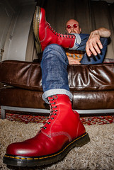 Sitting comfortable, 1490, 10 hole DM's, red. (CWhatPhotos) Tags: pictures camera original red fish color colour eye feet up leather yellow digital canon that lens cherry rouge boot foot photo foto looking with view hole boots artistic photos lace dr air picture wear fisheye have doctor footwear fotos 7d stitching z presentation comfort doc cushion marten which soles dm docs laces contain drmartens bouncing airwair docmartens welt martens dms laced oxblood 65mm drmarten opteka 1490s 1490 cushioned wair 10hole yellowstitching
