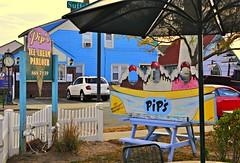 FREEPORT, L.I. (Joe Desiderio) Tags: newyork bench longisland pips icecream freeport umbrellas nauticalmile emptyseats picmonkey