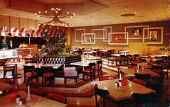 Clifton's Midtown Cafeteria Los Angeles CA (Edge and corner wear) Tags: california coffee shop architecture modern vintage design pc postcard wayne modernism architect chandelier chrome googie midcentury mcallister