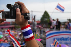 Symbol (baddoguy) Tags: camera people horizontal thailand hand symbol flag rally mob videocamera protester hold