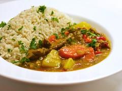 saturday night curry (andy pucko) Tags: chicken pepper ginger rice beef stock salt curry potato carrot garlic onion parsley greenonion basmatirice goldencurry thaipepper rangiri rouxblock