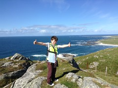 Ollie at the top of Ben Hough, Isle of Tiree - Sam Bouchnak