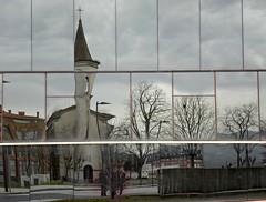 Mirarse... (Aurora3) Tags: asturias ventanas reflejo invierno oviedo 2014 aurofot nuevohospital antiguacapilla capillahucanuevo