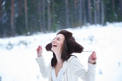 Winter joy (Barry_Madden) Tags: trees winter portrait woman snow smile smiling forest laughing suomi finland fun happy talvi youngwoman furryhat portraitproject2014