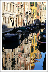 ...a reflective paradise. (shaun hamblin) Tags: trip carnival venice vacation italy sun holiday reflection building brick tower water sunshine st festival architecture night canon square eos boat canal costume bell render bricks marks nightime reflective venezia 1740mm 6d campanille 24105mm