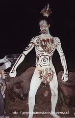Joven tatuado, integrante de un de grupo de isleos, preparado para mostrar luego sus danzas tradicionales. Febrero 2002.