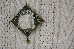 2014.03.15MiniCQBrooch01 (ivoryblushroses) Tags: green miniature beads pin embroidery brooch ivory cq stitching patch crazyquilting pieced