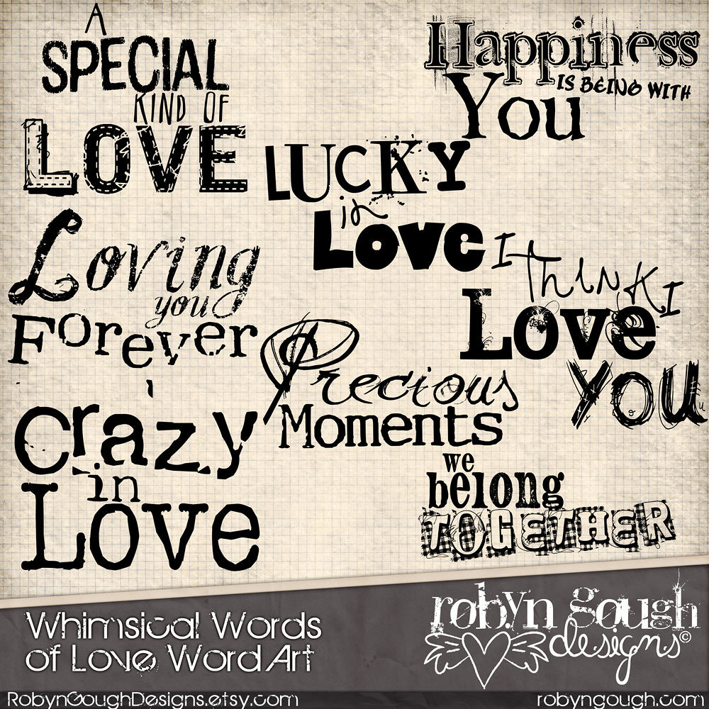 How to scrapbook words - Love Digital Scrapbook Word Art Clip Art Amp Card Making Love Typography Overlays By