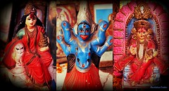 Three Devi (ChandrahaasCreation) Tags: life lighting camera city light color love colors look statue contrast digital dark lens lights design daylight cool colorful day fighter different power close god pray together cannon strong dhaka dslr decorate tample puja devi