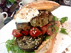 Lamb burger special at Fitzrovia in St Kilda (ultrakml) Tags: cameraphone food lunch fitzrovia burger australia melbourne victoria lamb stkilda iphone iphone5