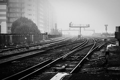 Autumnal Station (Phil Priston) Tags: uk morning bw london fog landscape mono industrial trains battersea rx100