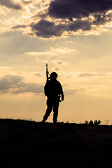 Silhouette of soldier (zabielin) Tags: sunset silhouette infantry private soldier army us marine war uniform ranger jarhead military rifle navy assault special american colorized weapon marines combat naval toned troops gi nato forces armedforces commando corporal sergeant armyrangers armed specialforces americansoldier filtered taskforce rifleman assaultrifle leatherneck americantroops backit