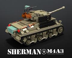 M4A3_SHERMAN_BACK (bijanz) Tags: army tank lego military ww2 worldwar fury sherman m4a3 legotank