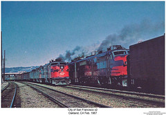 City of San Francisco x2 (Robert W. Thomson) Tags: california railroad train oakland diesel railway trains pa sp locomotive trainengine coveredwagon southernpacific streamliner alco passengertrain espee pa1 cityofsanfrancisco aunit sixaxle cabunit