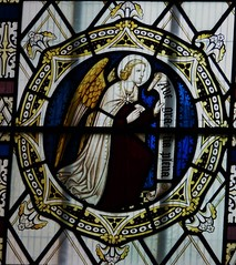 Angel Gabriel with scroll. (Glass Angel) Tags: angles stainedglass annunciation tewkesburyabbey geoffreywebb