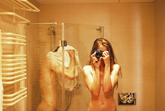 bathroom stories (janamartish) Tags: camera trip light boy woman holiday man reflection love film girl analog 35mm canon naked bathroom shower hotel mirror evening couple skin pair krakow inside everyday intimate 1000n