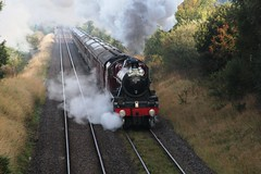 LMS Stanier Jubilee 6P5F No. 45699 'Galatea' approaches Clapham Moor Bridge hauling the annual 'Lune Rivers Trust' special, this year to Chester. 28-9-13  (steamdriver12) Tags: bridge autumn west heritage lune coast jubilee smoke yorkshire main sunny steam line september special rivers trust moor railways clapham lms galatea wcr stanier 2013 45699