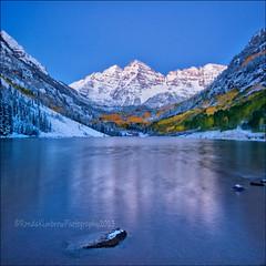 Maroon Bells, Colorado (RondaKimbrow) Tags: travel winter lake snow mountains reflection fall nature beauty colorado scenic destination aspen maroonbells maroonlake maroonpeaks rondakimbrowphotography