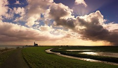 A monumental lighthouse that rises from the easternmost point of Marken island