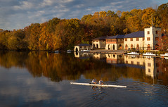 Morning Exercise (Dalliance with Light (Andy Farmer)) Tags: morning autumn fall water boats dawn newjersey unitedstates nj crew princeton rowing boathouse goldenhour lakecarnegie classof1887boathouse shearowingcenter
