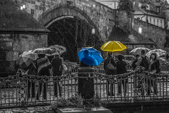 And when the rain begins to fall (Vagelis Pikoulas) Tags: bridge light people colour rain clouds canon eos kiss europe republic czech prague charles praha 1855mm x4 2013 550d colorphotoaward