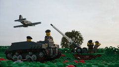 Road to Caen (Rebla) Tags: world road 2 outside inch war lego outdoor wwii perspective mortar micro ww2 soldiers to british forced skytrain fp normandy 42 carrier caen c47 loyd