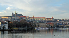 Sun s rising over Prague (litla) Tags: morning winter sunrise canon prague dom prag praha charlesbridge karluvmost moldau 1755mm 60d karlsbcke