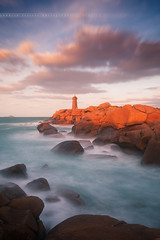 Sunset on Mean Ruz Lighthouse, Ploumanac'h #2 ( Cotes d'Armor - France ) (Yannick Lefevre) Tags: longexposure sunset lighthouse seascape france photoshop landscape nikon brittany raw nef tripod bretagne paysage dri manfrotto hoya rockscape perrosguirec ndfilter ploumanach nd400 cotesdarmor poselongue nd8 granitrose nikoncapturenx d700 ndx400 cotegranitrose capturenx2 meanruz chemindescontrebandiers yllogo nikkor1635mmf4 yannicklefevre||photography