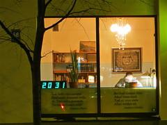 Lonely visitor at Cafe Gauja on Terbatas Street in Riga, Latvia. February 3, 2014 (Vadiroma) Tags: city clock window night cafe europe capital baltic latvia riga lettland 2014 rga latvija baltikum gauja lettonie terbatasstreet scenesnight