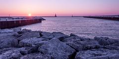 Harbor Sunrise (Eve'sNature) Tags: sun lighthouse lake water sunrise harbor rocks breakwater portwashington