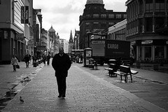 One Man and his Pigeon (Leanne Boulton) Tags: life street city uk morning wild portrait people urban blackandwhite bw white man black male bird water monochrome businessman skyline modern composition contrast truck canon reflections dark walking landscape sadness mono scotland living town blackwhite high thought mood alone loneliness darkness emotion pavement glasgow pigeon candid wildlife centre streetphotography blues atmosphere pedestrian scene business human thinking depression area shops paving delivery isolation misery bandw benches stores puddles zone argylestreet feral candidstreetphotography lkbphotographic