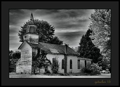 Church in Nowhere 3 (the Gallopping Geezer 3.5 million + views....) Tags: old building abandoned church rural canon exterior decay michigan flag country structure faded worn weathered derelict decayed geezer usflag corel oldglory 6d countryroads 2015 fowlerville tamron28300