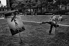 Montreal, Quebec, Canada, 2015. (Luis Miguel Torres Manchola) Tags: street streetphotography bw montrealquebec montreal weapons publicexhibition park naturallight unposed candid adults children women photo poster group