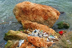 By the Sea By the Beautiful Sea (David K. Edwards) Tags: ocean seashore rocks trash plastic clutter pollutants problem death hemmingway havana cuba sad grim befouled