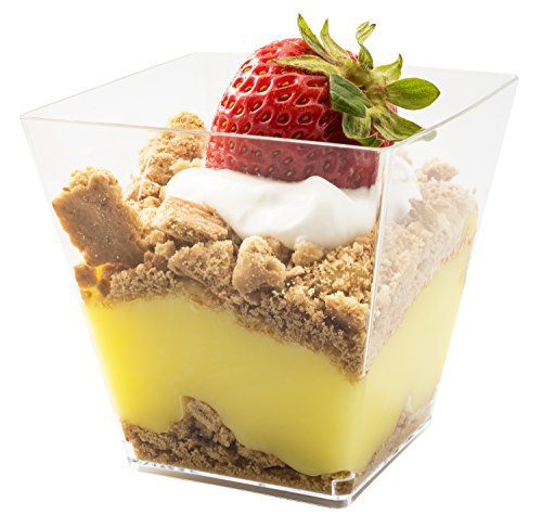 Product review for 5oz. Sturdy Modern Dessert Cup, Clear Square Plastic Cup, Stylish Parfait Glasses Dessert Cups, Fancy Trifle Bowl