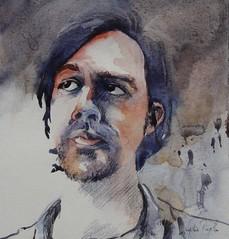 Ed B - JKPP (lydie.pieplu) Tags: aquarelle watercolor portrait crayonaquarellable
