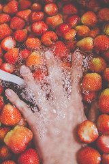 Cleanin' strawberries (bognarreni) Tags: red summer water fruit spring juicy healthy strawberry hand bubbles fresh