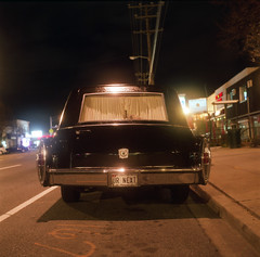 (Josh Sinn) Tags: longexposure color 120 6x6 film night mediumformat dark md kodak tripod maryland plate license late 100 essex hearse yashicamat124g ektar cablerelease urnext